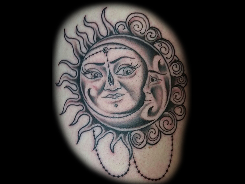Sun and Moon Design Black and Grey Tattoo Derrick Wagner